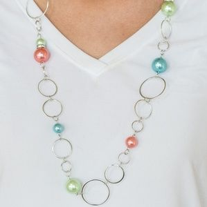 Silver Necklace with Different Color Beads